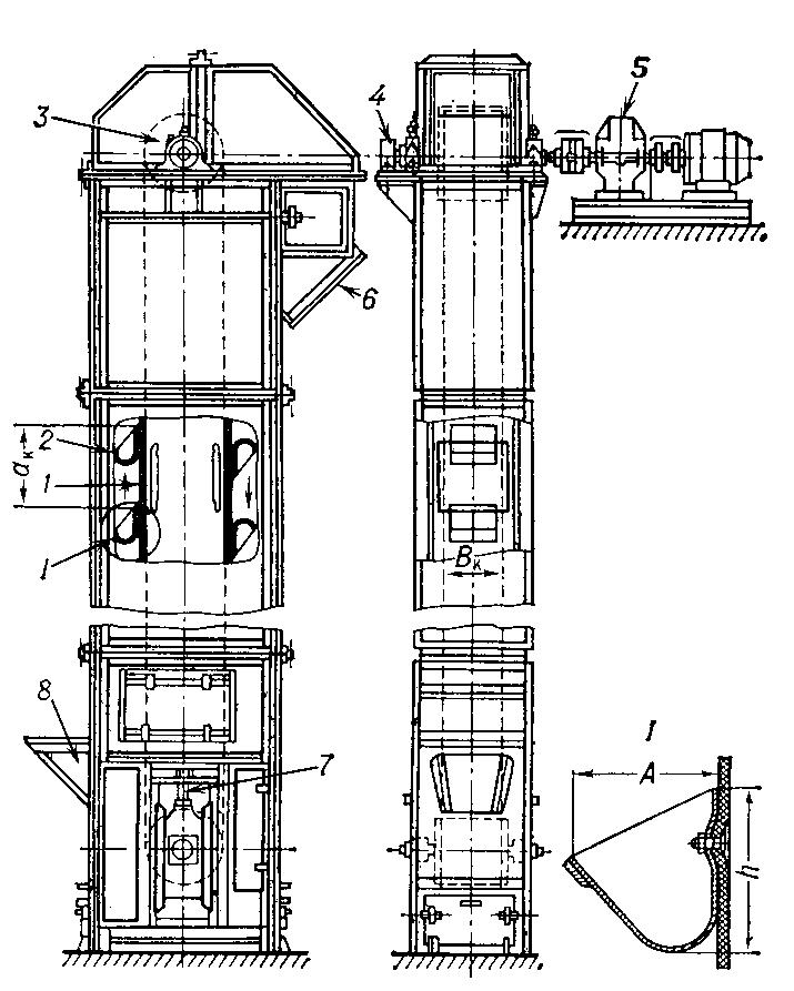 Элеватор в рыбном тележечный конвейер