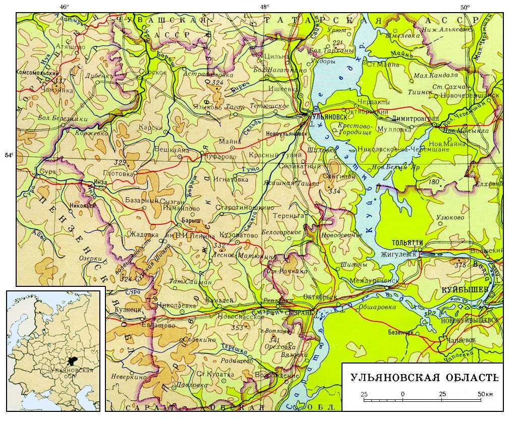 подробная карта ульяновской области можно